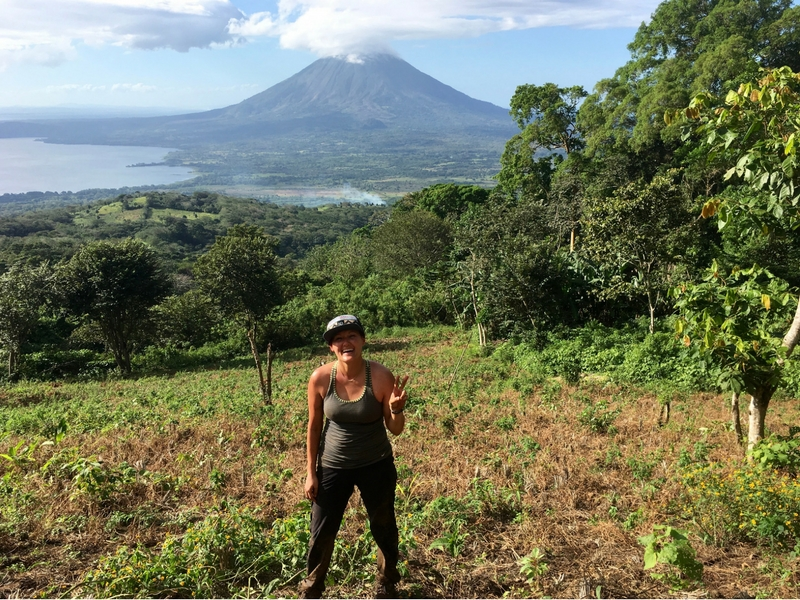 Image of me on the hike up Volcano Maderas looking at Volcano Concepcion in Nicaragua.