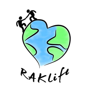 The RAKLife logo, featuring two people helping each other climb a heart-shaped world.