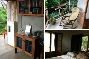 Three images of La Via Verde B&B on Ometepe Island. On the left is the shared area with a fridge and books to borrow. On the top right, my private balcony with rocking chair and hammock. On the bottom right, my bedroom with doors out to the patio.