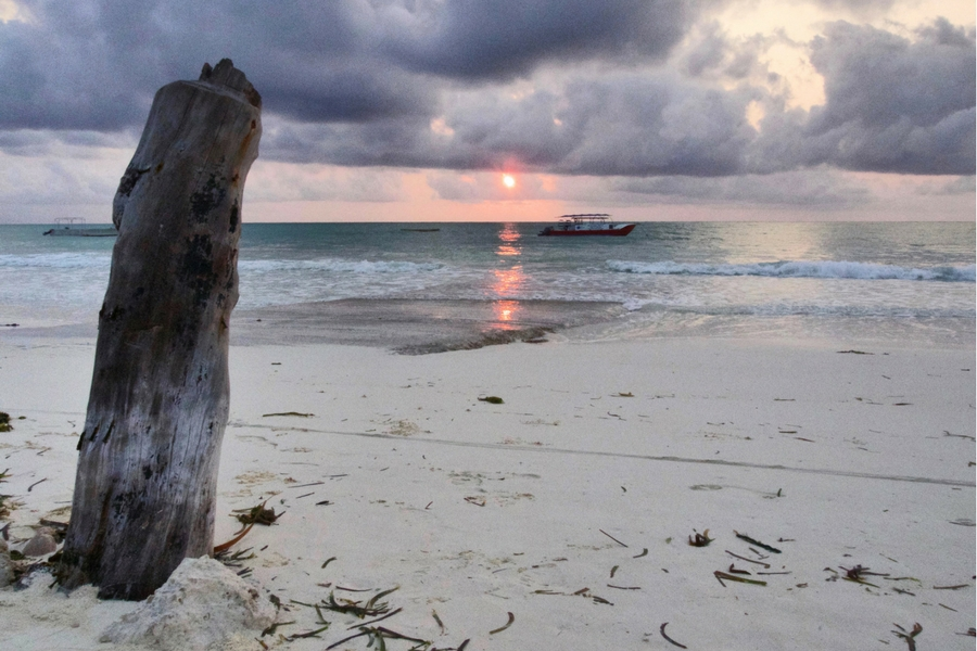 Image of sunrise from the beach in Paje Village in Zanzibar.