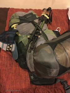 Image of my pack for the 4 day Inca Trail hike at 22 pounds.
