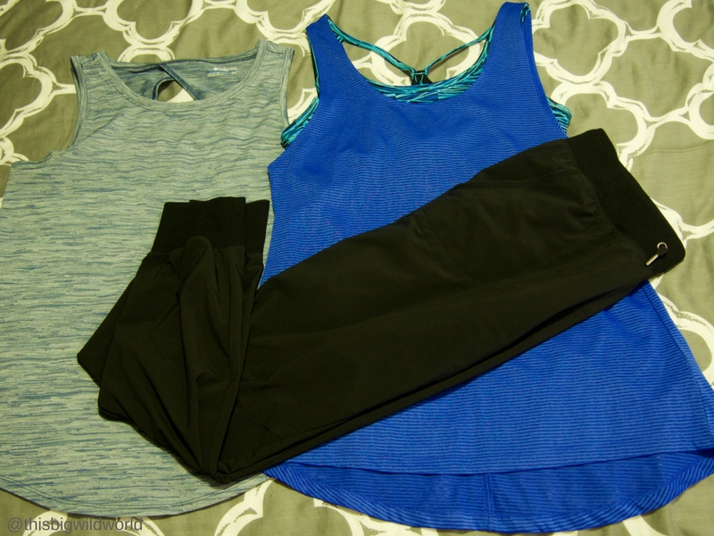 Image of clothing packed for the Inca Trail hike in Peru, including two tank tops and breathable pants.