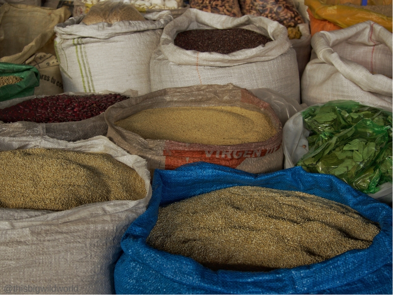 Image of large bags of quinoa for sale at one of the markets in Cusco Peru.