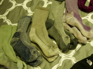 Image of five pairs of Smart Wool hiking socks for the Inca Trail hike in Peru.