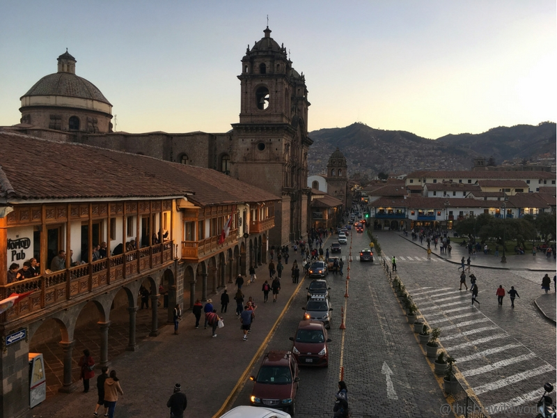 Image of Plaza de Armas in the evening as seen from Papacho's restaurant.