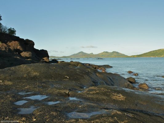 Image taken from the volcanic rock coastline of Nacula Island near Blue Lagoon Beach Resort in Fiji.