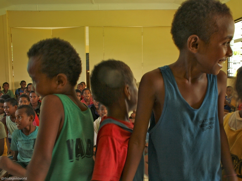 Image of children at school on Nacula Island in Fiji.