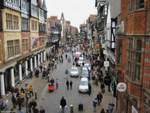 Image of Chester's city centre as viewed from the clocktower in England.