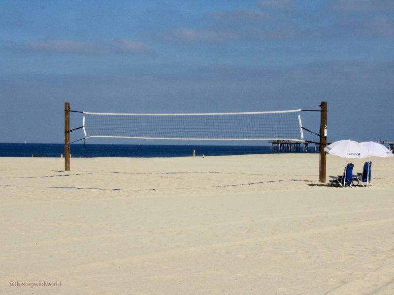 Image of volleyball net on Hermosa Beach in the South Bay area of Los Angeles.
