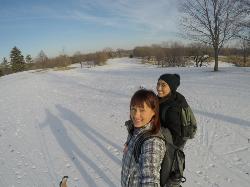 Me and a friend cross-country skiing in Minnesota.