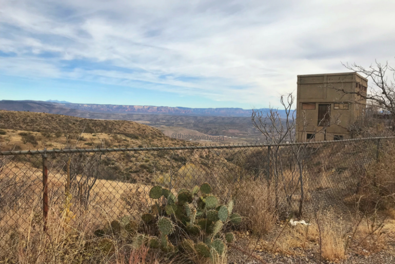 Image of mountains from across the street of Audrey Headframe Park in the old copper mining town of Jerome Arizona.