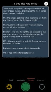 Screenshot of app to photograph the Northern Lights with an iPhone.