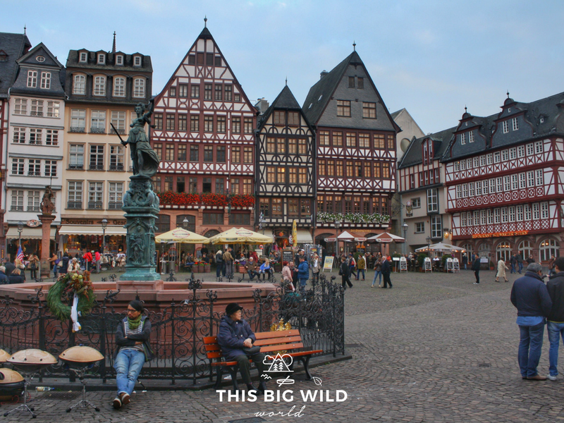 Romerberg, the main square in Frankfurt Germany, where one of my biggest travel fails took place.