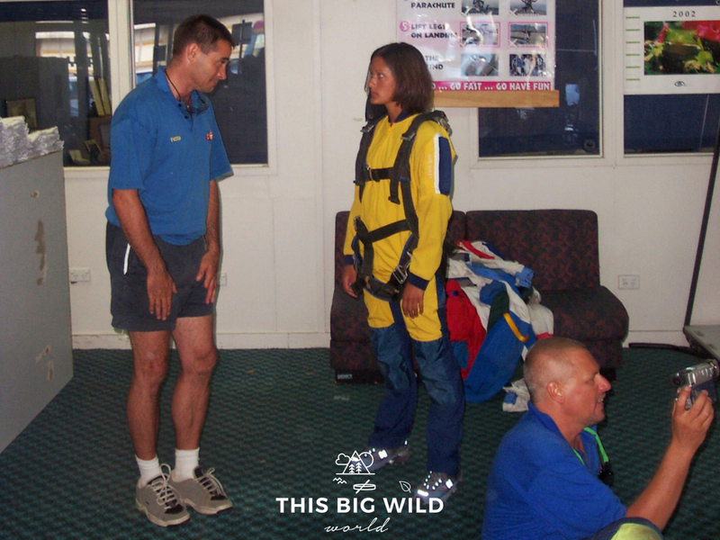 A very young and hungover me preparing to go skydiving over the Great Barrier Reef in Cairns, Australia.