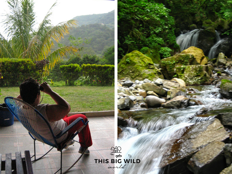 On the left, the woman whose property has access to the waterfall hike near Monteverde Costa Rica, rocking in her chair on the porch. One the right, the very small waterfall we played in.
