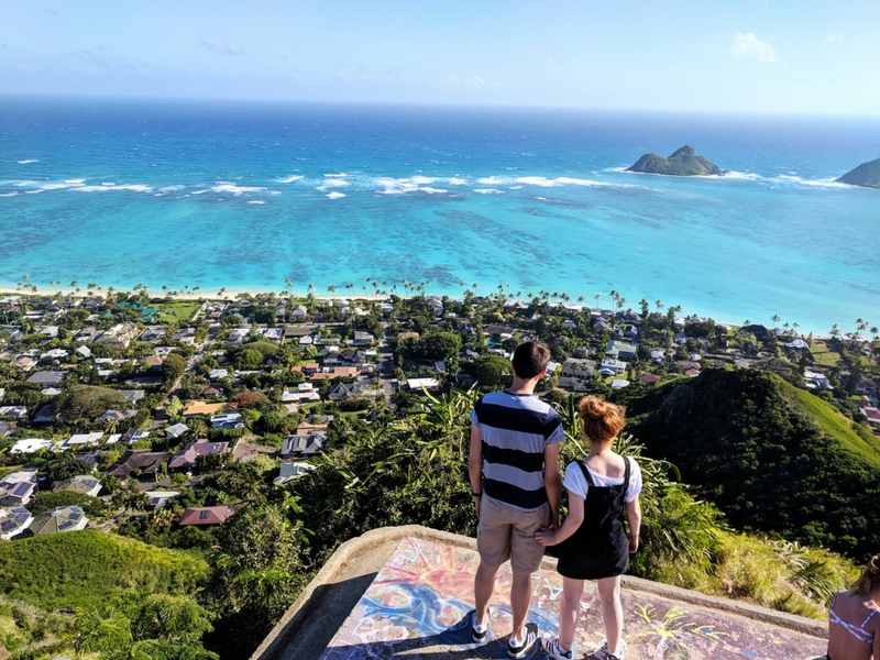 The two Scots behind Far Am A Gan travel blog are enjoying the view from the top of Oahu.