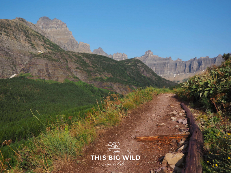 One of the best hikes in Glacier National Park, the Iceberg Lake Trail, follows a ridgeline for sweeping views of the valley and surrounding mountains.
