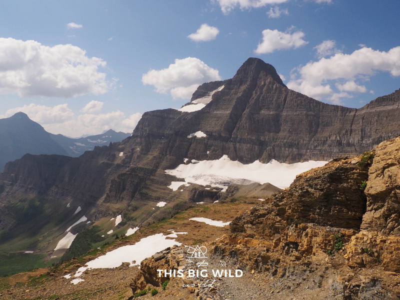 From Siyeh Pass at Glacier National Park you can see Sexton Glacier, one of the few remaining glaciers in the park.