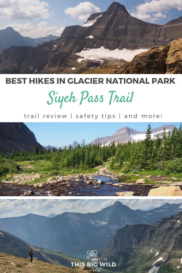 The Siyeh Pass Trail is a hidden gem in Glacier National Park. Everything you need to know about hiking the Siyeh Pass Trail is in this trail review including hiking safety tips, trail photos, trail highlights and more! #hiking #trailreview #glaciernps #nationalparks