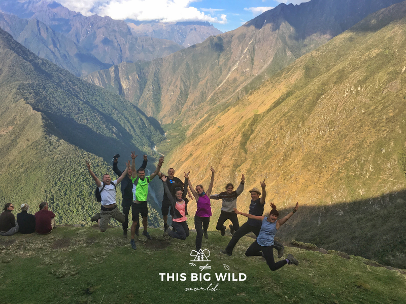 There's room for all sorts of outdoor adventurers and hikers on the trails. Let's not judge those different from us. Photo of group jump shot on the Inca Trail.