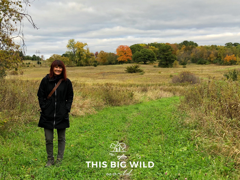 Me enjoying the Autumn colors while hiking at Two Pony Gardens and Pizza Farm near Minneapolis Minnesota.