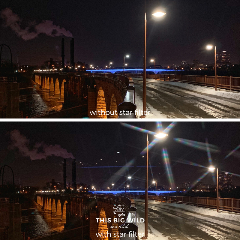 Star filters can be used with your smartphone camera lens. The top image is with an iphone XS no filter. The bottom image is the same image with an iphone XS with a Bomgogo star filter.