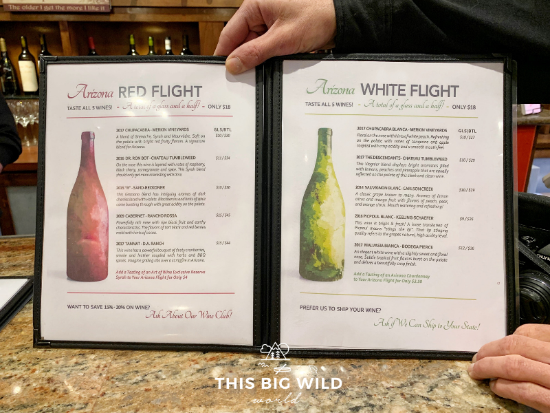 Art of Wine Tasting Room in Sedona offers red or white flights of Arizona wines.