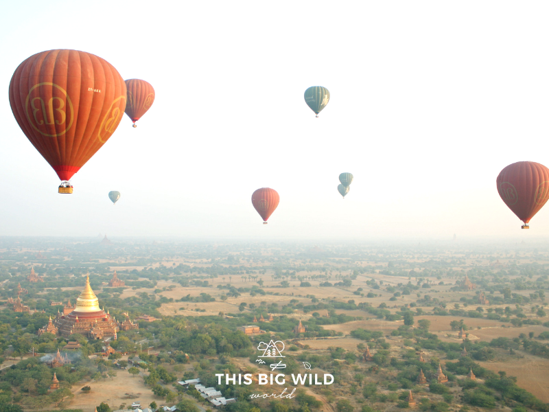 One of the most memorable things to do in Bagan is to experience the sunrise over the temples from a hot air balloon!