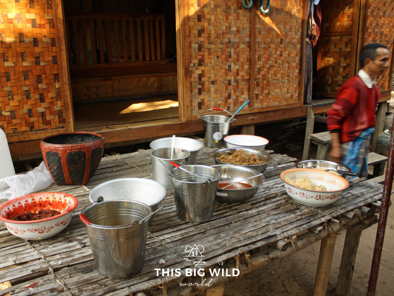 The members of the village insisted we join in their Shinbyu celebration meal after the parade.