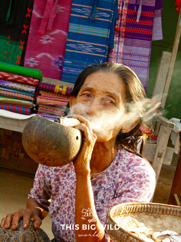 This woman was smoking cheroot and hustling her goods while I explored Bagan by scooter. Scootering around is one of the unique things to do in Bagan!