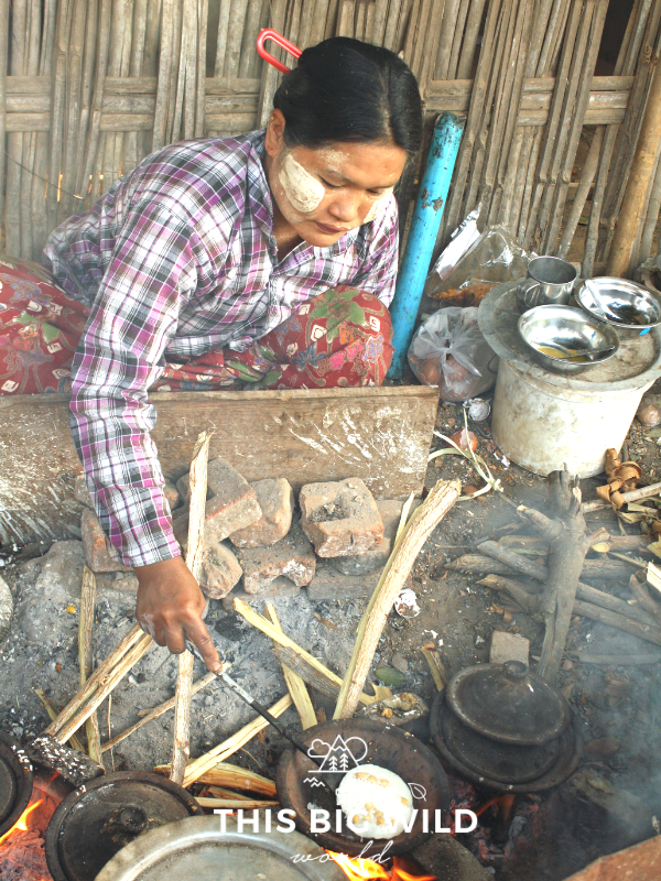 This woman was cooking sweet rice cakes on the side of the road in Bagan.