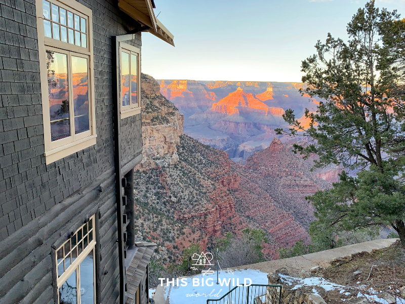 Watch the sunset over the South Rim of the Grand Canyon from in front of Bright Angel Lodge.