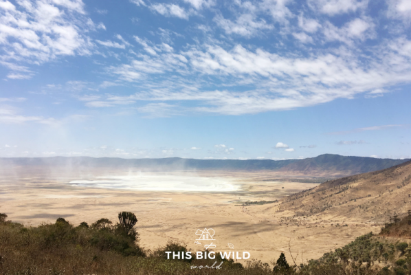 Everything you need to know about a budget camping safari in East Africa. The view as you descend into Ngorogoro Crater.
