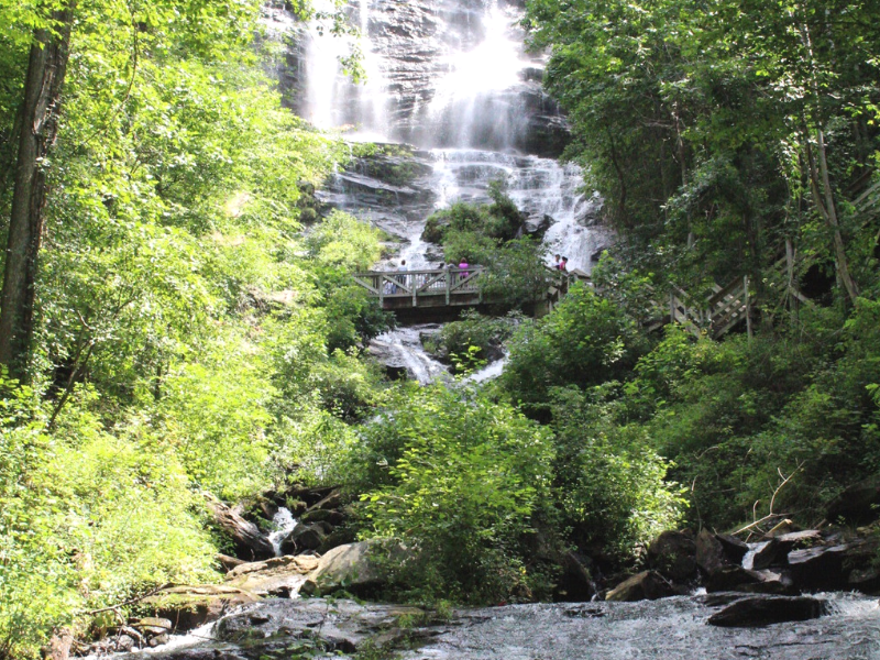 Amicalola Falls State Park, near Atlanta, has towering waterfalls in the middle of the Blue Ridge Mountains. Photo by Lauryn at LE Travels.