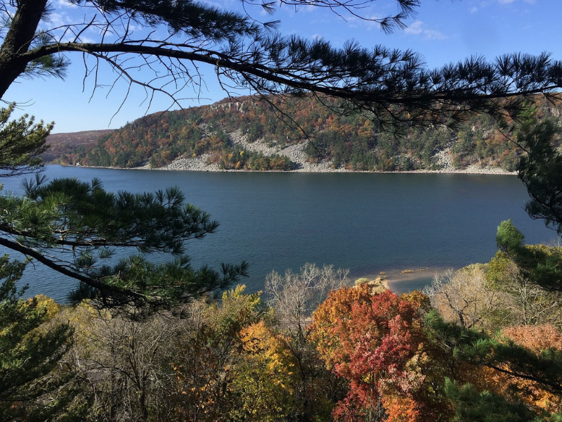 Enjoy a view of Devil's Lake from above from one of the many hiking trails at Devil's Lake State Park in Wisconsin.