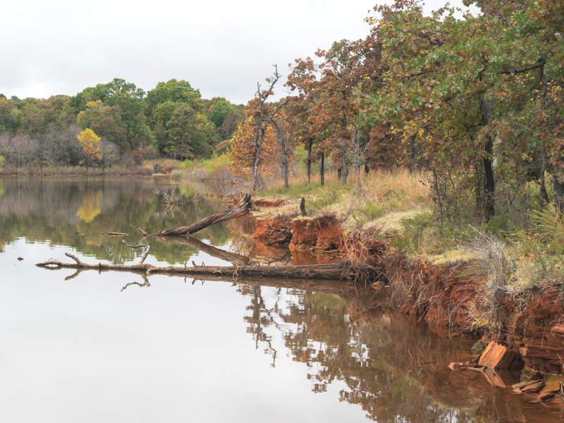 Enjoy the bright fall colors at Lake Thunderbird State Park in Oklahoma. Photo by Niki from Chasing Departures.