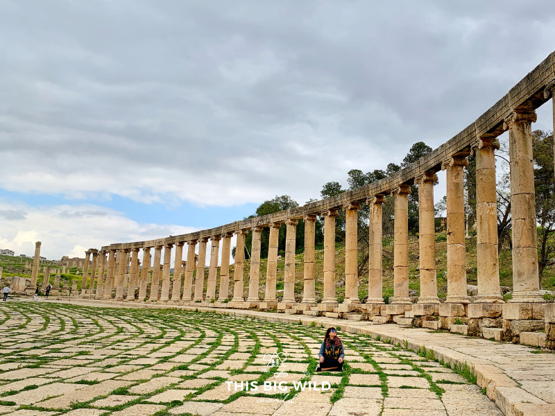 The Oval Plaza or Oval Forum in the ancient city of Jerash in Jordan is breathtaking. Take a moment to sit and appreciate the surrounding columns and intricate paving.