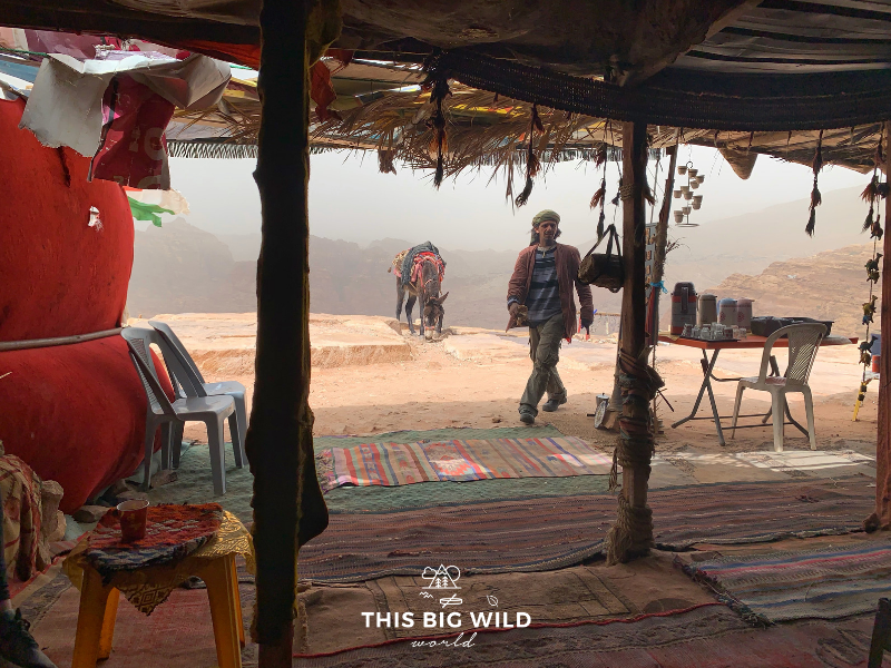 Throughout Petra, Bedouin people live in tents selling coffee and other wares to visitors.