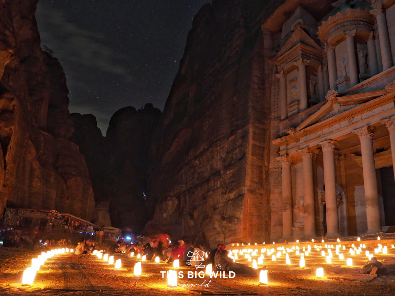 Petra by Night is a magical way to see the Treasury. It's lit up by candlelight with the starry night sky above.