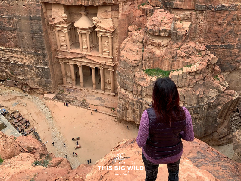The Al Khubtha Trail in Petra offers an incredible view of the iconic Treasury from above!