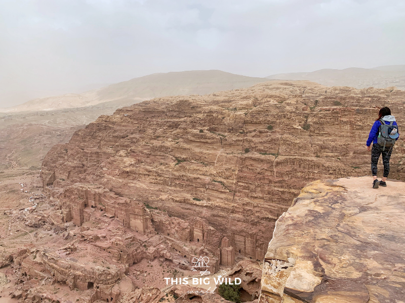 The High Place of Sacrifice is worth the 700 stair climb for sweeping views looking out across the city of Petra. Here you can see the Royal Tombs on the other side of the canyon.