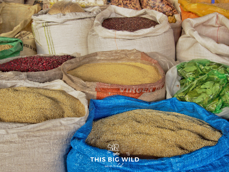 Quinoa is a staple food in Peru. Large bags of all types of quinoa were available in the Mercado de Abastos in Cusco.