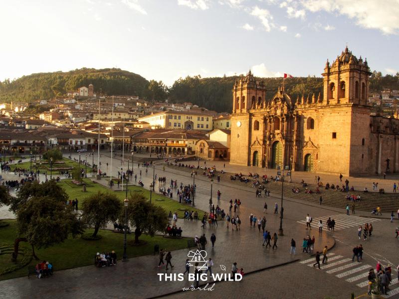 Enjoy the golden light during sunset over Plaza de Armas in Cusco Peru