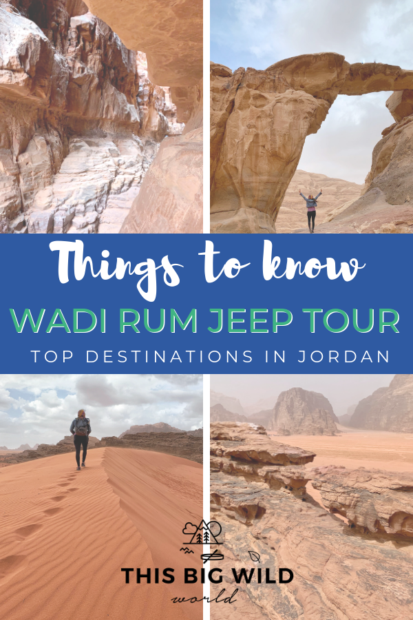 Explore the unique beauty of the Wadi Rum desert in Jordan on a Wadi Rum Jeep tour. Wanna know what to expect in Wadi Rum? Here are 11 things you need to know before you book your tour, including what the vehicles are like, where to camp in Wadi Rum, things to see in Wadi Rum, and more! Don't miss this top destination in Jordan! #wadirum #jordan #desert #middleeast #travel