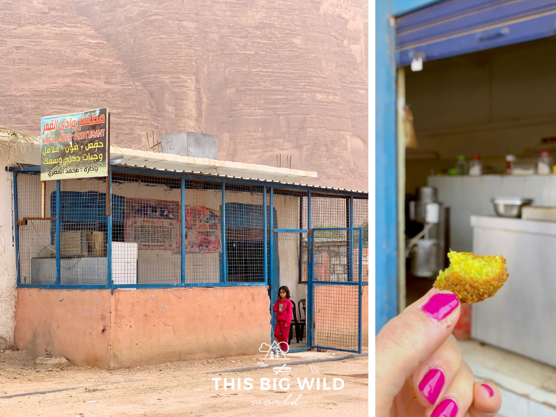 This tiny restaurant in Wadi Rum serves some of the best falafel I had in Jordan and they were made fresh right in front of me!
