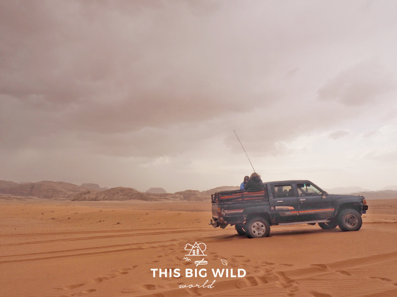 Your Wadi Rum Jeep tour might not be in an actual Jeep. Ours was in a four wheel drive truck as shown here.