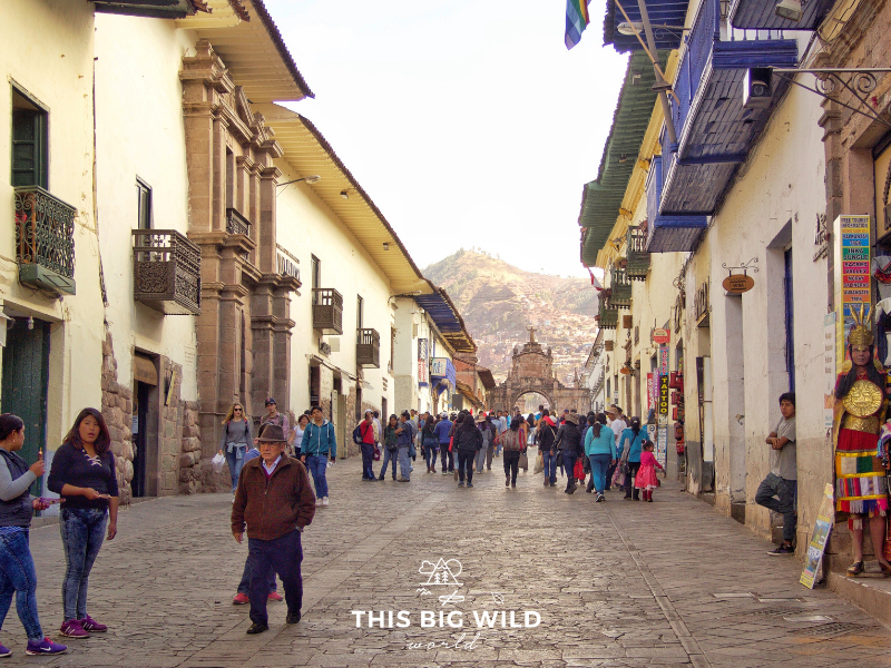 Calle Mantas is one of the main roads through Cusco connecting Plaza de Armas with many shops and markets.