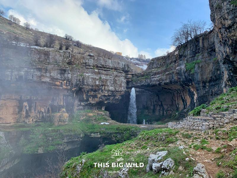 Baatara Gorge Waterfall is an incredible waterfall with natural rock bridges near Beirut in Lebanon.