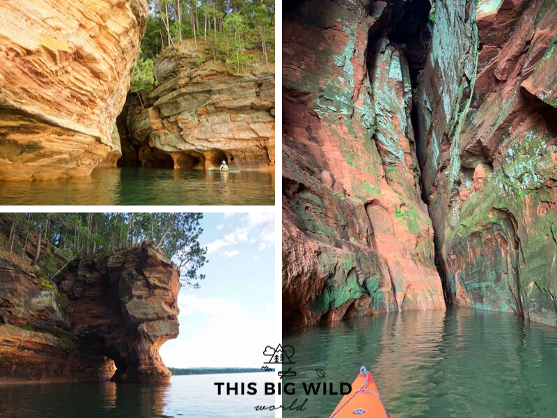 The mainland sea caves in the Apostle Islands come in all shapes and sizes. Some are large enough for many kayaks to be in at once, and others are only wide enough for a single kayak!