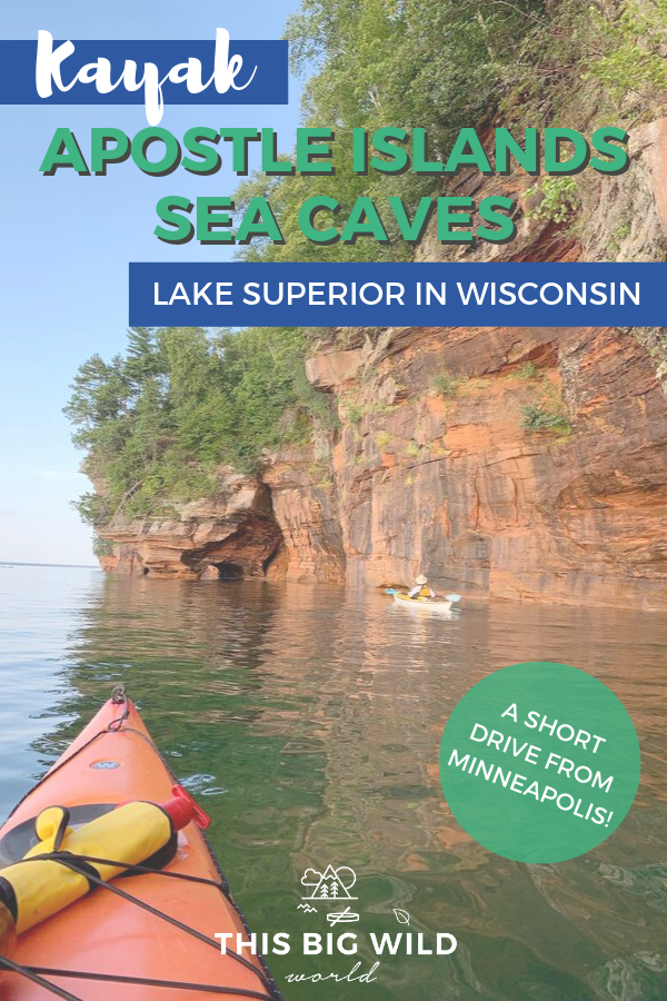 Kayaking the sea caves on Lake Superior is a bucket list adventure! The sea caves are located in the Apostle Islands National Lakeshore near Bayfield, Wisconsin. Plan your trip with these Apostle Islands kayaking tips and resources! apostle islands wisconsin | apostle islands national lakeshore | lake superior kayaking | bayfield wisconsin | sea caves apostle islands #seacaves #wisconsin #lakesuperior